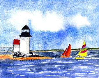 Original Painting Watercolor-Sailboats and Lighthouse Summer Vacation Time- Seascape-Sailboats-Lighthouse-Nantucket- Maine-Cape Cod
