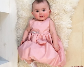 Baby cerimonial bubble dress in rose