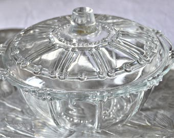 Vintage Kig Indonesia Glass Beaded Lidded Candy Dish/bowl - Oyster Pearl
