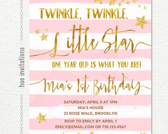 twinkle twinkle little star first birthday invitation for girl, pink gold glitter stars white stripes, custom printable digital file