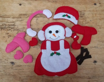 Dress  A Snow Girl : Christmas. Toy . Snow Girl. Pretend Play. Dress Up. Learning . Snow . Felt Doll .