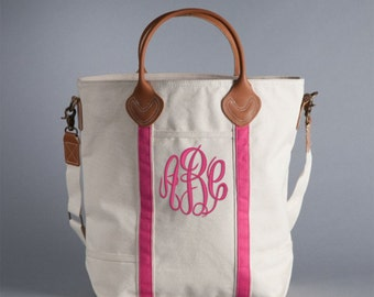 NEW! Monogrammed Pink Trim Canvas Flight Bag with Leather Handles  font shown MASTER CIRCLE in Bright Pink