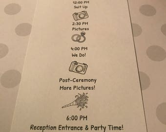 Bridal Party Itinerary