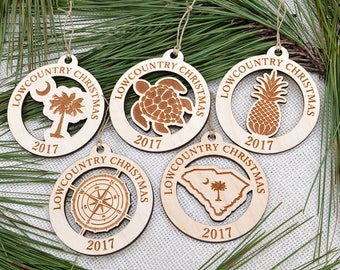Wooden Lowcountry Christmas Tree Ornament Set of 5, Lowcountry Collection 2017