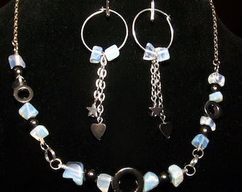 LAST CHANCE SALE!! Moonstone and Hematite Choker with Matching Earrings