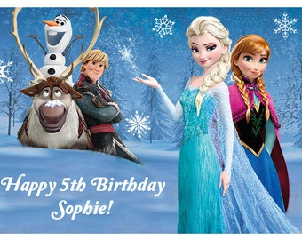 Frozen Disney Elsa Anna Olaf personalised cake topper edible wafer paper for birthday party