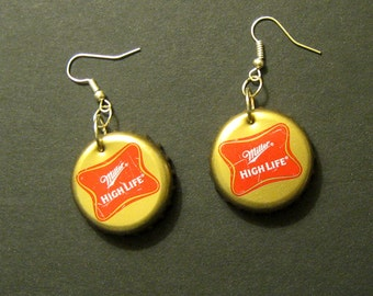 Recycled Beer Bottle Cap Earrings Miller