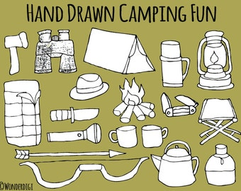 Digital Stamps Camping Clipart - Adventure Clip Art - Hand drawn clipart doodles - Digi Stamps