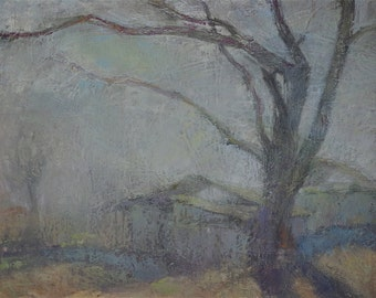 Landscape oil Painting, One of a kind Handmade Artwork, Tonalism, Signed with Certificate of Authenticity