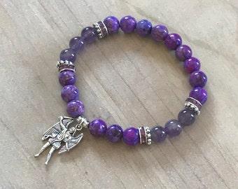 Archangel Michael Bracelet, Sugilite bracelet, Lavender Amethyst, Archangel Michael, angelic bracelet, spiritual bracelet, spirituality