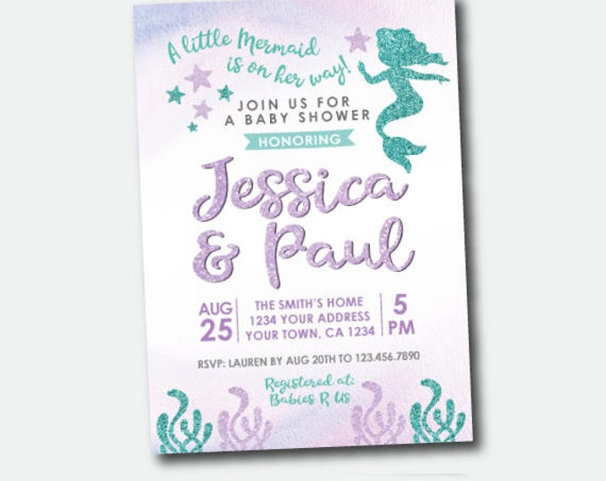 Mermaid Baby Shower Invitation, Little Mermaid Shower, Under the Sea Invites, Personalized Digital Invitation