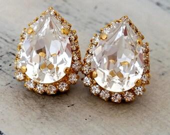 Clear white Crystal Swarovski teardrop stud earrings, Bridal earrings, Bridesmaids earrings, Stud earrings, Gold or silver, Vintage earrings