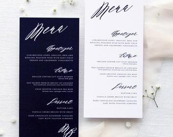 Elphie Menus, Navy Menus, White Menus, Menus Wedding, Menus Baptism, Stationery Calligraphy, Wedding Table Stationery