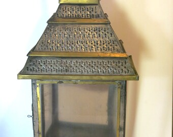 Vintage Punched Tin and Glass Nicho - Mayan Pyramid w/ Gold Accents Shadow Box