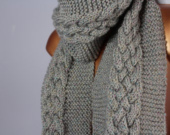 Whimsical Braided Cable Knit Scarf with Sprinkles