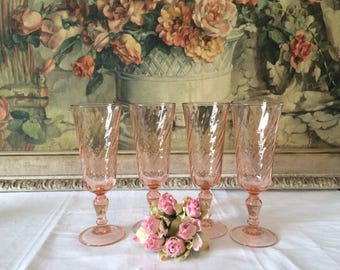 Vintage Set of 4 Rosalind Pink Blush French Arcoroc Champagne Glasses