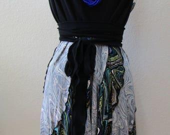 Retro print long skirt or tube dress (v24)