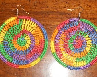 Rainbow Crocheted Earrings