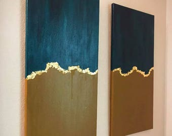 Abstract Turquoise Blue and Gold Canvas Art