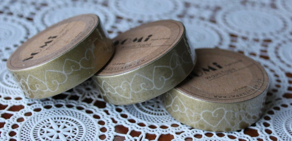 Scrapbook Supplies- 1 roll. Washi Tape. Gold Wedding Hearts - Little Laser Lab