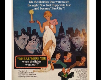 "Doris Day Movie Poster ""Where were YOU?"" Liberties in NY.  1968 Movie Magazine Ad.  Doris in a Bed Sheet. Cute Sexy. 13x10 Ready Frame"
