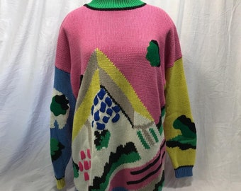 Long sleeve pullover sweater, pink with black abstract design, crew neck, medium, large, esprit sport, acrylic blend, taiwan, 1980s