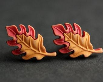 Oak Leaf Earrings. Amber Leaf Earrings. Orange Leaf, Red Leaf. Bronze Earrings. Red Earrings. Orange Earrings. Autumn Jewelry.