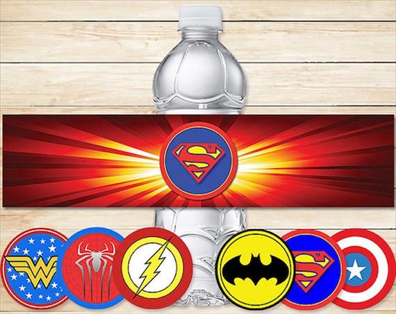 Printable Superhero Water Bottle Labels Basic Logos