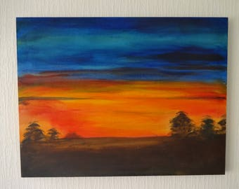 Red Sky at Night Abstract Sunset Landscape Canvas Wall art