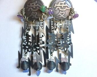 Huge Vintage Marjorie Baer Accessories Adian Themed Earrings