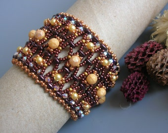 Tutorial - Earth treasures bracelet Superduo and Fire Polish tutorial