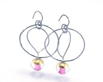 Light Pink Oxidized Silver Earrings