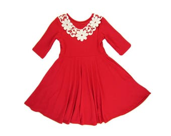 Girls Red-Orange Twirly Dress with Ivory Lace, Girls Twirly Dresses, Girls Dresses Sizes 4/5, 6/6X, 7/8, 10/12 Ready to Ship