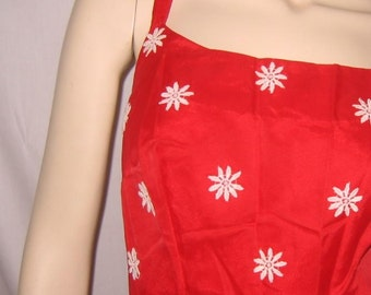 Vintage Red Dress Daisy Appliqued Bodice