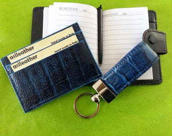 Set crocodile leather credit cardholder keychain.wallet keyring.Croc card holder. Great gift idea. Hand made in Italy.Printed croc calfskin