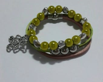 Boho leather beaded bracelet set, Lemon green beaded glass beaded stretch bracelet set 6 > 8 years