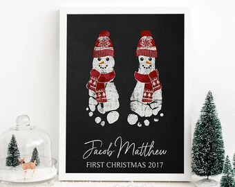 Baby's First Christmas Art Print, Personalized Chalkboard Snowman Footprint Decoration, Holiday Decor, Your Child's Feet 5x7, 8x10 UNFRAMED
