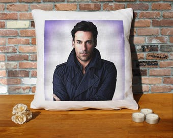 Jon Hamm Pillow Cushion - 16x16in - White