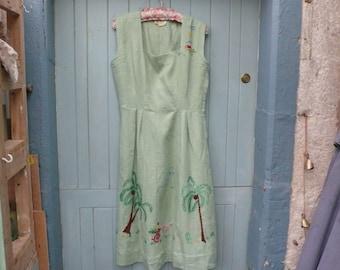 green linen 1950\/s dress