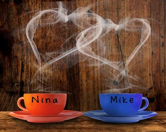 Personalized Wedding Gift - Couples Names - Unique Romantic Gift - Heart - Coffee Cups - Anniversary Photo pp976