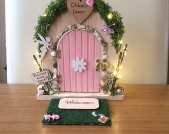 Fairy Door. Personalised Fairy Door. Fairy door with lights. Tooth Fairy Door. Rustic. made with real stone, willow wood. Pyrography.