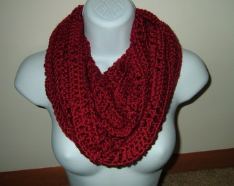 Hand Crocheted Cozy Cowl Infinity Scarf~Autumn Red