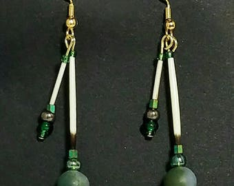 Handmade Alaska Porcupine Quill Earrings With Moss Agate