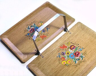 Hasko Folding Tray, Mid Century Serving Tray, Floral Tray, Haskelite Foldable Tray, Handled Tray, Hasko Caddy