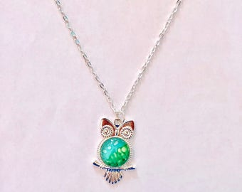 Light Blue and Green Wise Owl Necklace