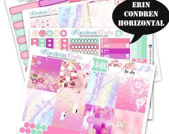 Japanese Garden Stickers, Spring Planner Kit 200+ Planner Stickers, for Erin Condren Horizontal Planner, Floral kit #SQ00812-ECH