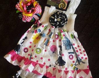 Beautiful 3-12 months 3-piece Paris theme baby girl dress soft hot pink chevron black white polka dot Free Monogram made and ready to ship