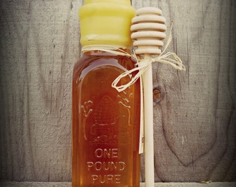 Pure Raw Ohio Honey 16oz Muth Jar Hand Dipped in Beeswax