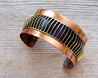 Modernist Copper Brass Cuff. Vintage Copper Brass Bracelet, Wide Copper Cuff. MCM Copper Jewelry, MIxed Metals Cuff, Copper Jewellery