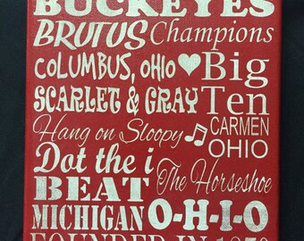 Ohio State Buckeyes wall sign. 8 x 10 Buckeyes fan plaque. Buckeyes laser engraved on painted canvas. Ohio State Buckeyes canvas sign.